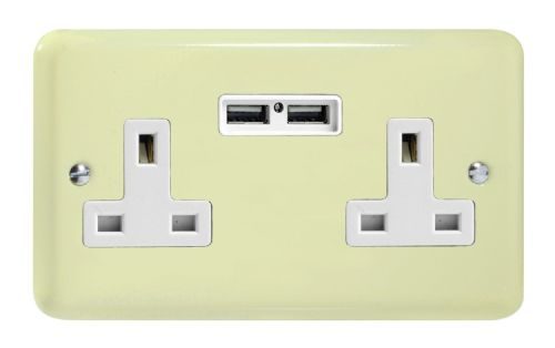 Varilight XY5U2W.WC Lily Pastel White Chocolate 2 Gang Double 13A Unswitched Plug Socket 2.1A USB